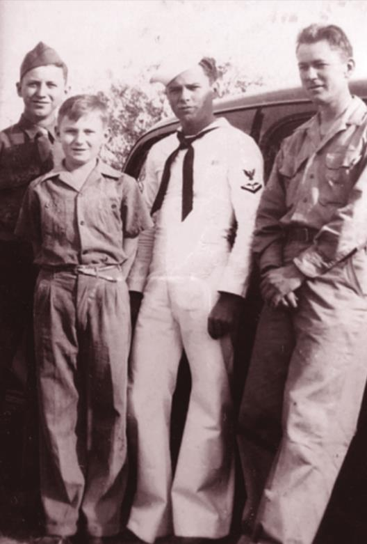Cordell's three older brothers served their country in World War II. The Levien brothers in about 1945 (left to right) are: Hershel, Cordell, Leroy and Kenneth.